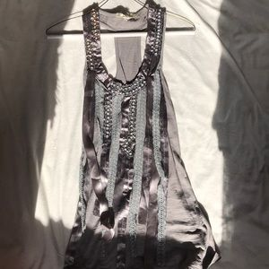 Tops - Grey Tank Top with Beads and Beautiful Accessories